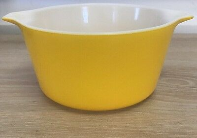 Retro Yellow Pyrex Bowl Ovenware. Made In The USA. Funky