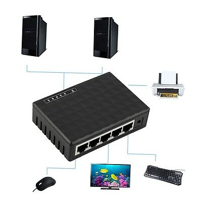 5 Port 10 100Mbps Desktop Ethernet Network LAN Power Adapter Switch Hub plug LQ