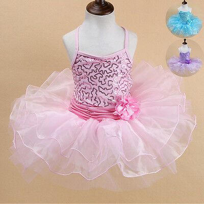 Girls Toddler Ballerina Costume Skirt Ballet Dance Wear Leotard Tutu Dress 2-10