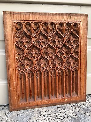 Stunning Gothic Carved panel in oak/ wood A8