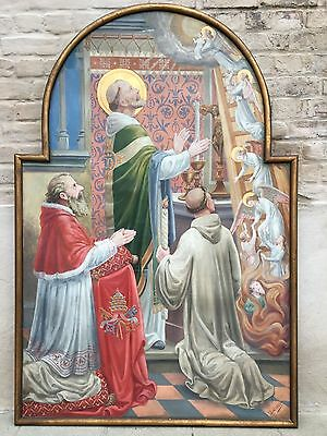 A Stunning Big size Gothic Altar church Painting Circa 1880 Signed