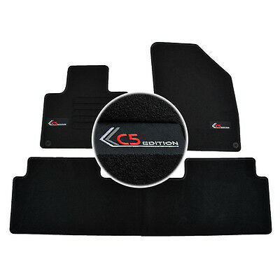 4 Tapis Sol Citroen C5 3 2008-Up Berline Break Specifique Moquette Noire Logo