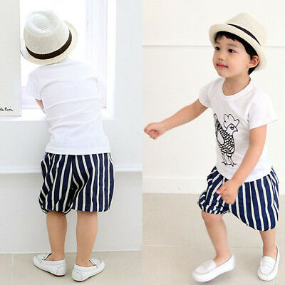 2-7T Kids Baby Boys Summer Cute Short Sleeve T-shirt Cotton Tee Tops Clothes
