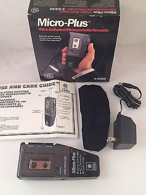 Ge Micro-Cassette Recorder Voice Activated 3-54336 Vintage Recorder Tested Works
