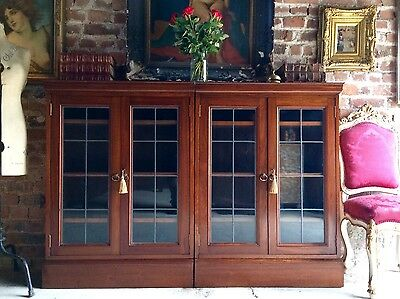 Stunning Mid Century Bookcases Display Cabinets Pair Arts & Crafts Walnut
