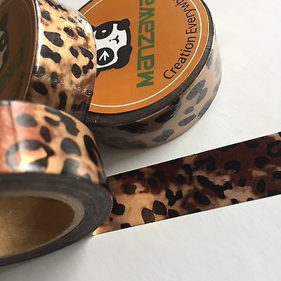Washi Tape Foil Leopard Print 15Mm Wide X 10Mtr Roll Planner Craft Wrap Scrap
