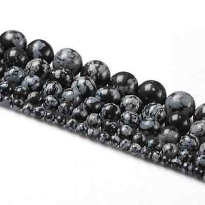 Lots Natural Snowflake Obsidian Gemstone Round Loose Beads Findings 4/6/8/10MM