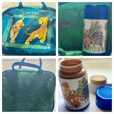 Disney 1992 Vtg Lion King Soft Zip Lunchbox & Thermos Bag Tote Daycare School