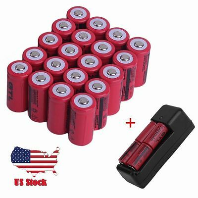 20Pcs 16340 CR123A 3.7v 2300Mah Rechargeable Lithium Li-Ion Battery w/ Charger