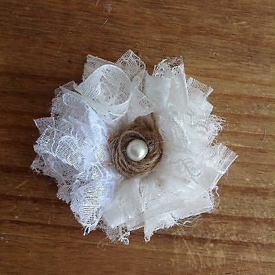 3 Lace & Hessian Flowers Handmade with Pearl Centre Vintage Shabby Chic