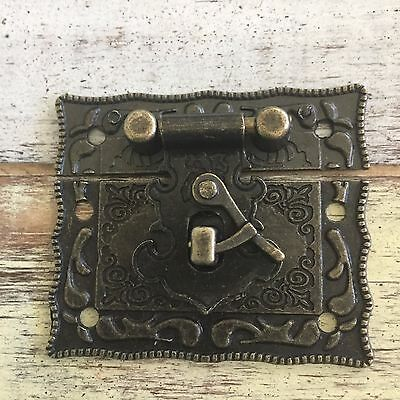 Vintage Brass Cabinet Blanket Box Latch Antique Jewellery Box Hasp 51mm x 43mm