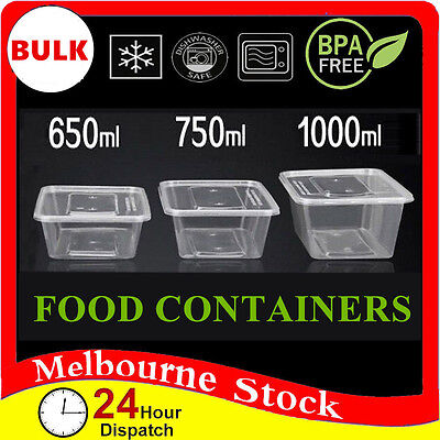 100-600 Food Container Plastic DISPOSABLE Takeaway Take Away Microwave Box Lids