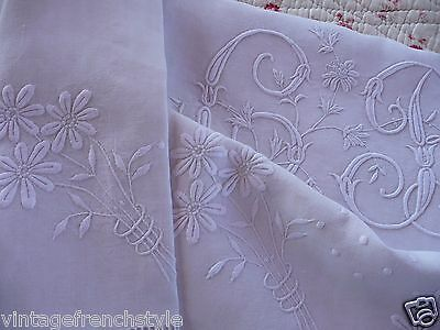 "Antique French Linen Sheet  Mono ""gb"" White Linen Sheet Pure Linen Hand Worked"