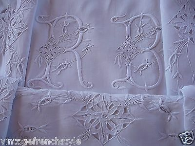 "Antique French Linen Sheet Mono ""rb"" Hand Stitched French Lace White Linen"