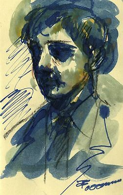 Thomas O'Donnell, Male Portrait Study in Blue- Contemporary watercolour painting