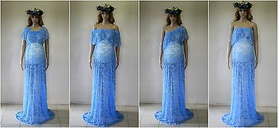4 in 1 Lace Maternity Dress Gown - Photography Photo Prop - Size 8-18 Light Blue
