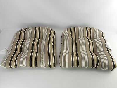 Pillow Perfect 386164 - Black/Beige Striped Wicker Seat Cushions - Pack of 2