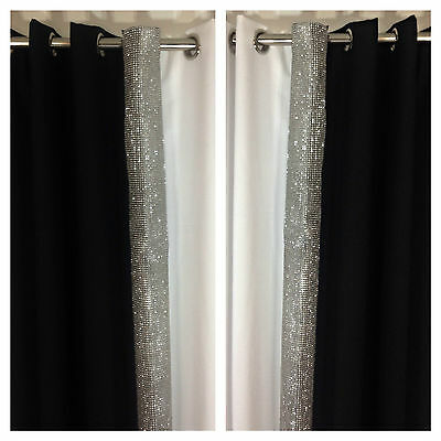 Eyelet curtains Ring Top Fully Lined Pair Ready made Diamante Black Silve White