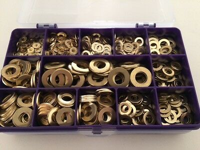 ASSORTED BOX METRIC BRASS FLAT WASHERS 540 pcs M3 M4 M5 M6 M8 M10