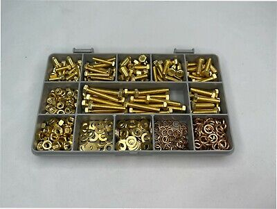 M4 and M5 METRIC BRASS BOLTS AND NUTS SCREWS and WASHERS Assorted Box 375 pcs