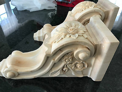 Pair of 2, Wood Corbels, Maple Wood, handcraft, 14 inch x 5.5 inch.x6.5 inch