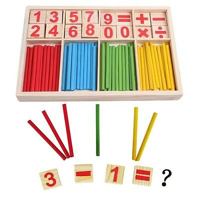 Baby Educational Puzzle Wooden Number Sticks Cards and Counting Rods with Box