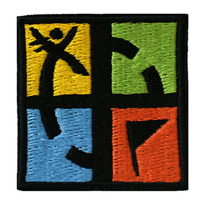 Embroidered GEOCACHING Sew & Iron On Patch On Black Felt