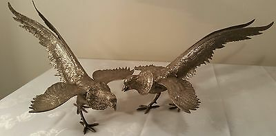 Vintage Pewter Chinese Golden Pheasant Statues Figurines - Pair