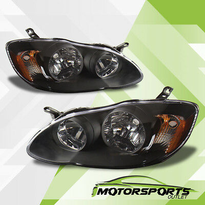 For 2003 2004 2005 2006 2007 2008 Toyota Corolla L/LE/S Black Headlights Pair