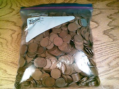 1000 Circulated Wheat Back Lincoln Cents Mixed Dates
