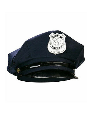 Police Policeman Special Officer Cop Party Costume Hat Black Cap - Adult Size