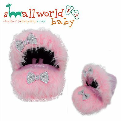 Personalised Pink Fur Baby Car Seat Cover (NEXT DAY DISPATCH)