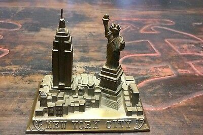 Vintage Souvenir New York City, Statue Of Liberty, Empire State Building, Brass
