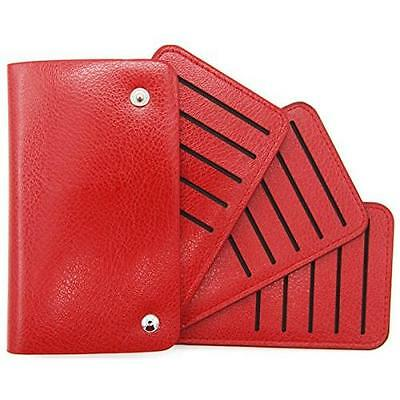 DEEZOMO PU Leather 30 Slots Credit Card Holder Wallet - Red New