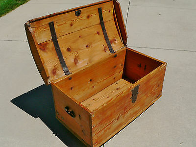 Antique Pine Dome Top Trunk 1850-1880's Wrought Iron Hardware