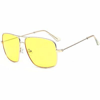 Unisex Large Frame Yellow Driving Lens Vintage Retro 80s 70s Fashion Sunglasses