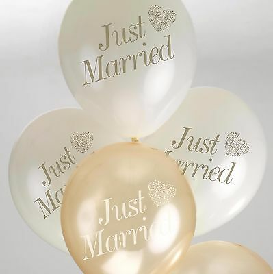 8 Just Married WEDDING BALLOONS Ivory Gold VINTAGE ROMANCE Helium Air Latex