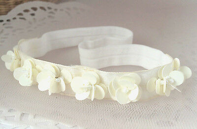 Lace headband, ivory baby hair band, baptism, wedding christening tiara handmade