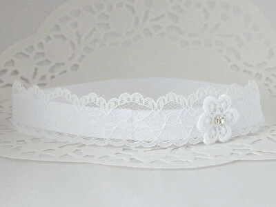 Lace headband, white baby hair band, baptism, wedding christening tiara handmade