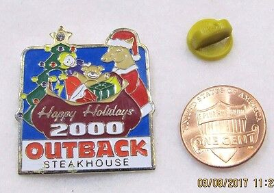 Outback Steakhouse Happy Holidays 2000 Santa Kanagroo  Lapel Pin Pinback Travel