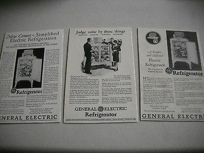 1927 & 1928 General Electric Refrigerator Advertisements  Lot of 3