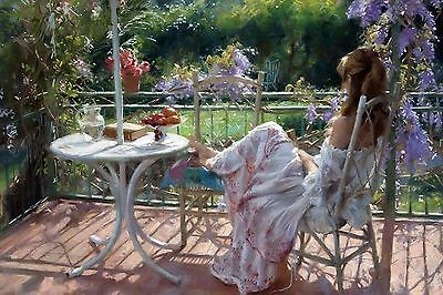 "Canvas Painting Print Garden Lady Modern Wall Art Picture 24""x36"""
