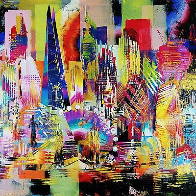 "Stunning London Canvas Abstract Painting Print Modern Wall Art Picture 24""x24"""