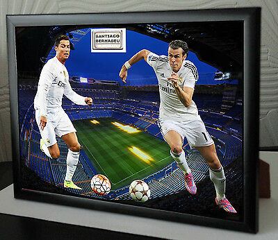 """Ronaldo and Bale Framed Canvas Tribute """"Great Gift"""""""