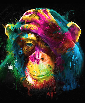 """Colourful Chimpanzee Monkey Canvas Painting Print Wall Art Picture 20""""x24"""""""