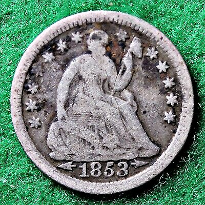 1853 HALF DIME WITH ARROWS in GOOD (G) CONDITION