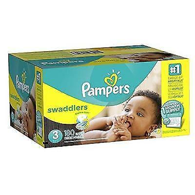 Pampers Swaddlers Disposable Diapers Size 3, 180 Count New