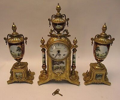 Vintage Imperial Clock with Sconce Set Urns