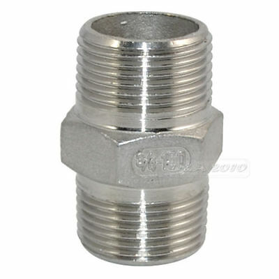 "3/4"" Male to Male Hex Nipple Steel SS 304 Threaded Pipe Fittings NPT megairon"