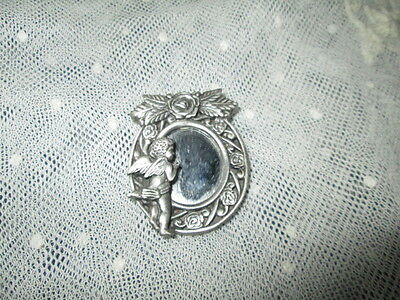 Old Vintage Signed M.S. DEE Collectable Pewter Brooch angel -rozes-looking glass
